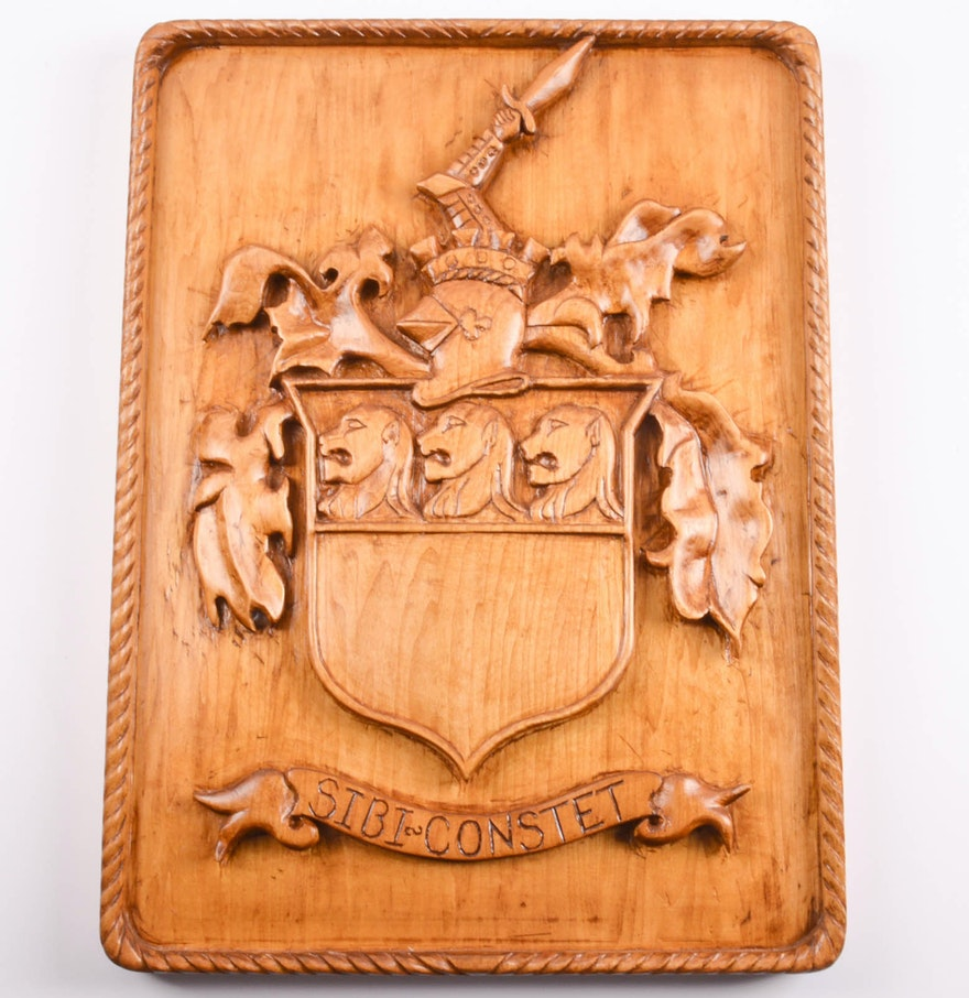 Hand Carved Wooden Wall Plaque Inscribed Sibi Constet Ebth