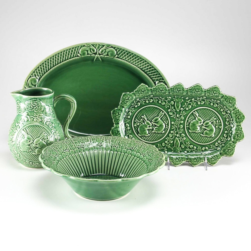 """Rabbit Green"" Pottery by Bordallo Pinheiro Portugal"