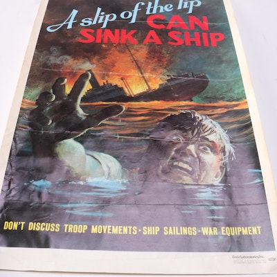 """1940s American World War II Poster """"A Slip of the Lip Can Sink a Ship"""""""