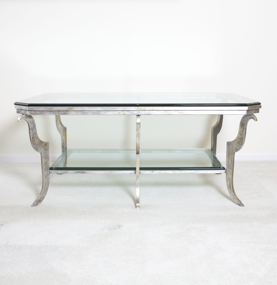 Contemporary glass top coffee table ebth for Contemporary glass top coffee table