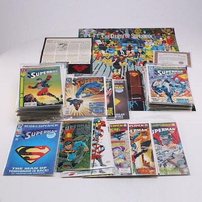 """DC """"Superman"""" Comics Including 1992 """"Death of Superman"""" Collectors' Items"""