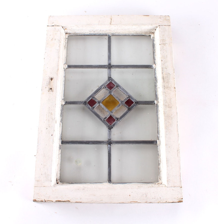 Vintage Geometric Stained Glass Window : EBTH