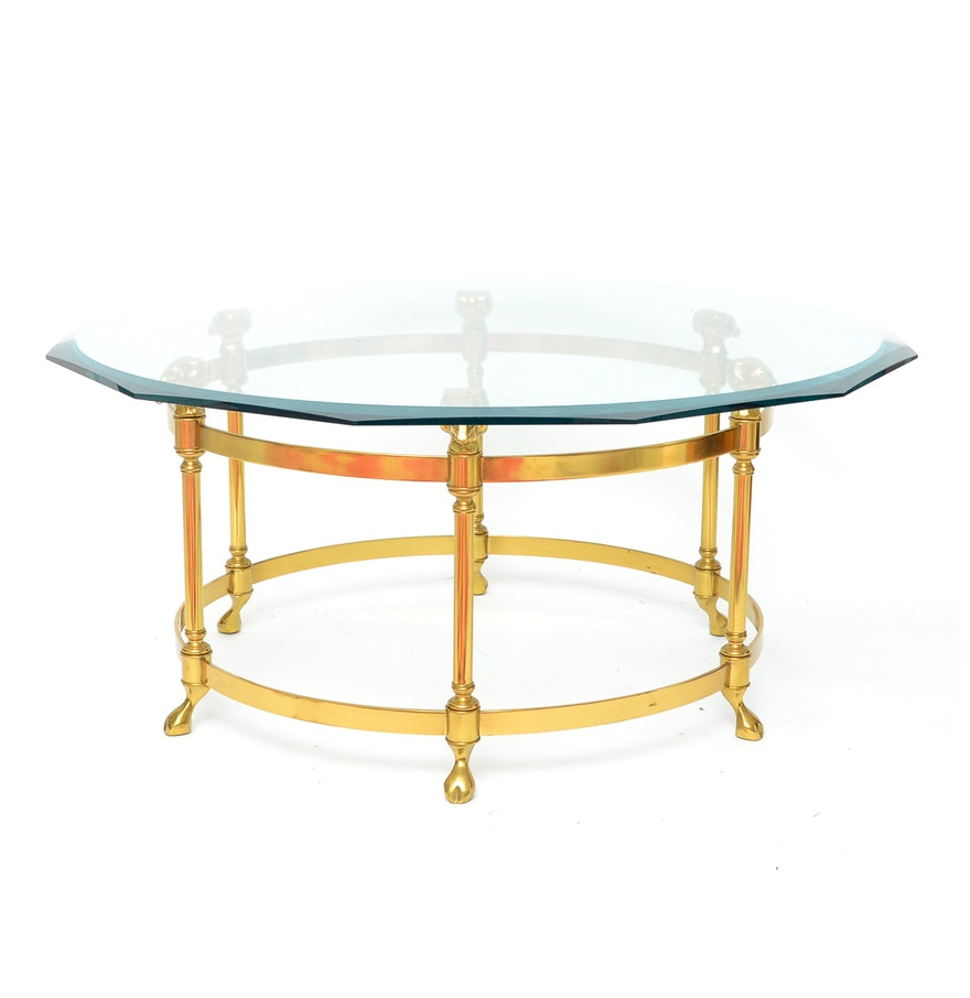 Vintage Brass Maison Jansen Style Coffee Table Ebth