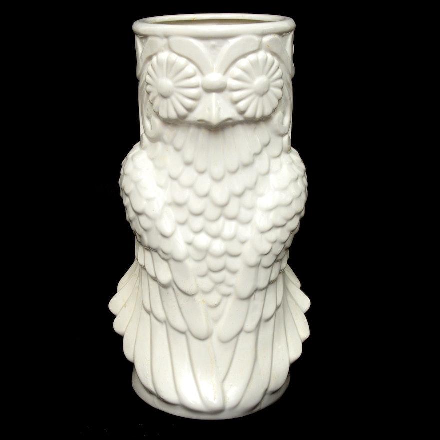 White Ceramic Owl Vase Ebth