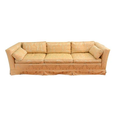 queen anne style camel back down filled sofa ebth