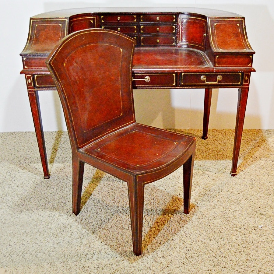 Maitland Smith Regency Style Leather Desk And Chair ...
