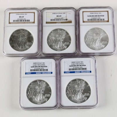 Collection of Uncirculated Eagle Silver Dollars
