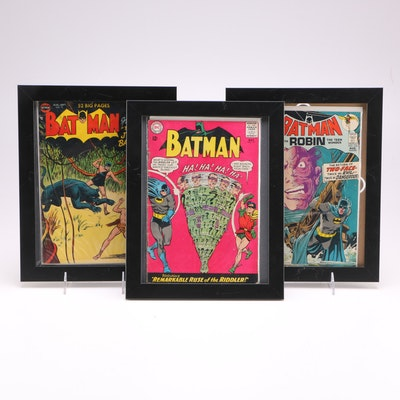 "Framed Vintage First-Series ""Batman"" Comics"
