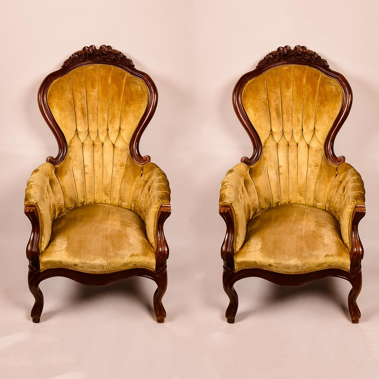 Pair of Velvet and Wood Carved Chairs