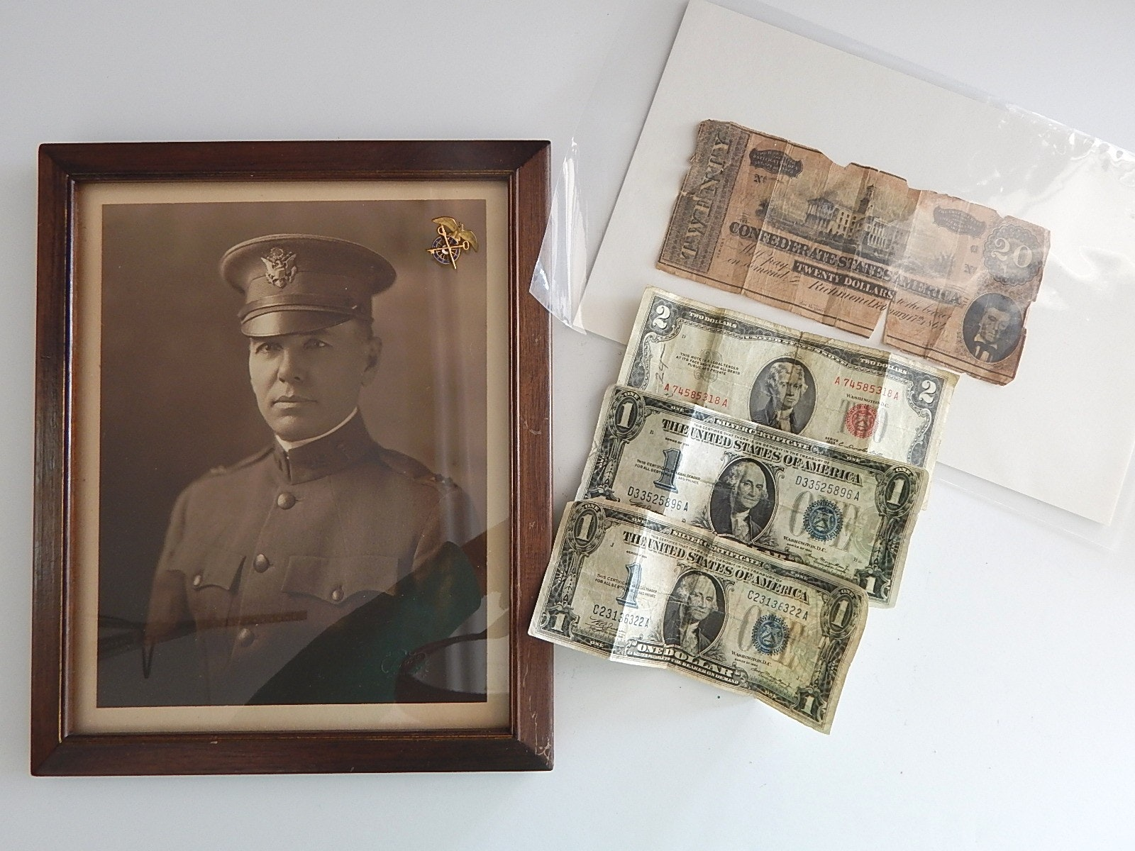 Collectible Currency and Military Framed Photo w/Pin