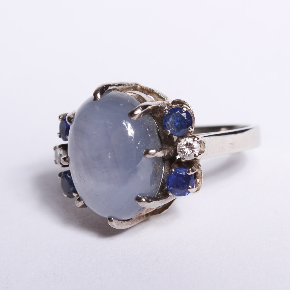 14K White Gold Star Sapphire Ring with Diamonds
