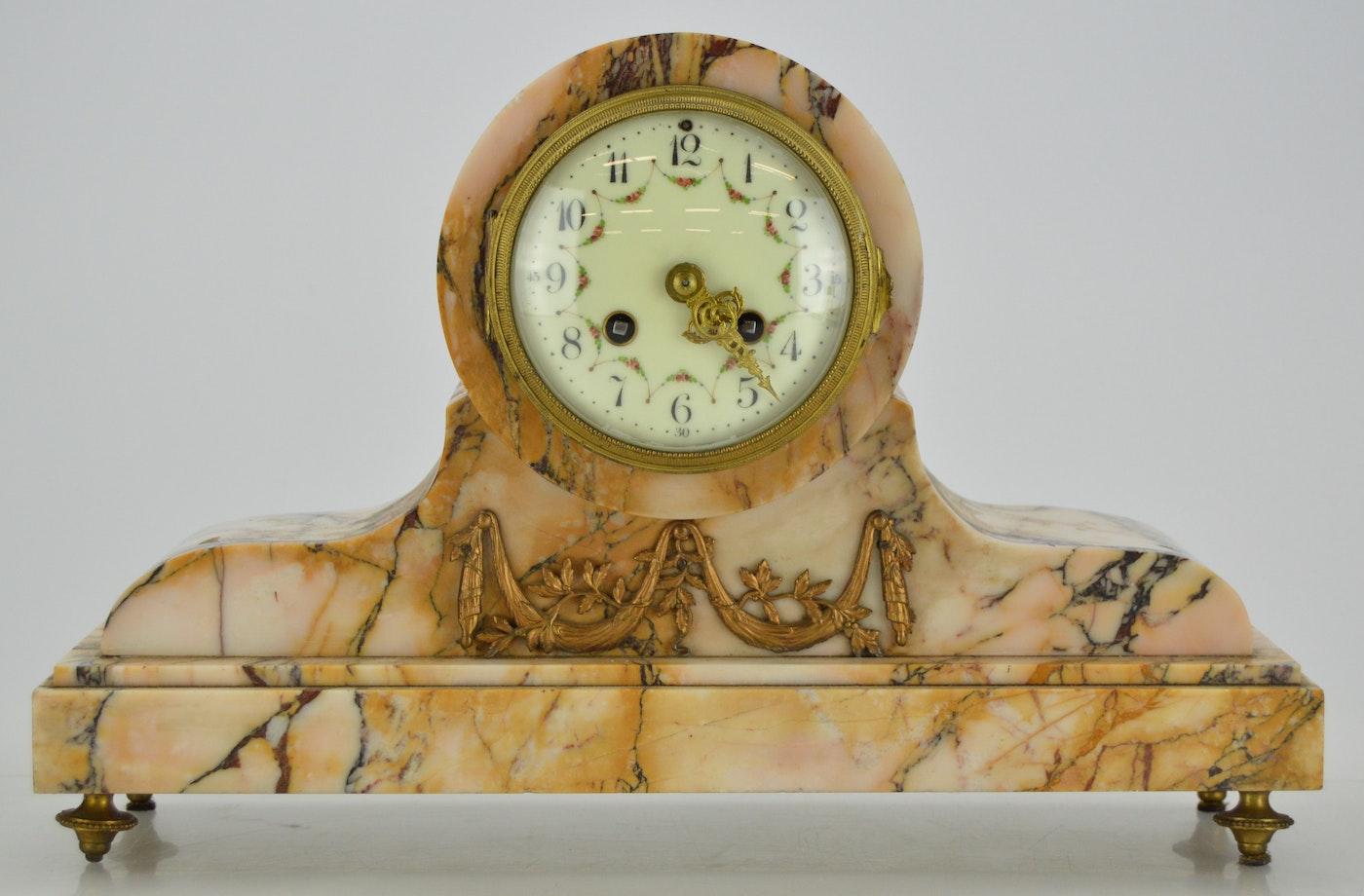 Antique Marble Mantel Clock Ebth