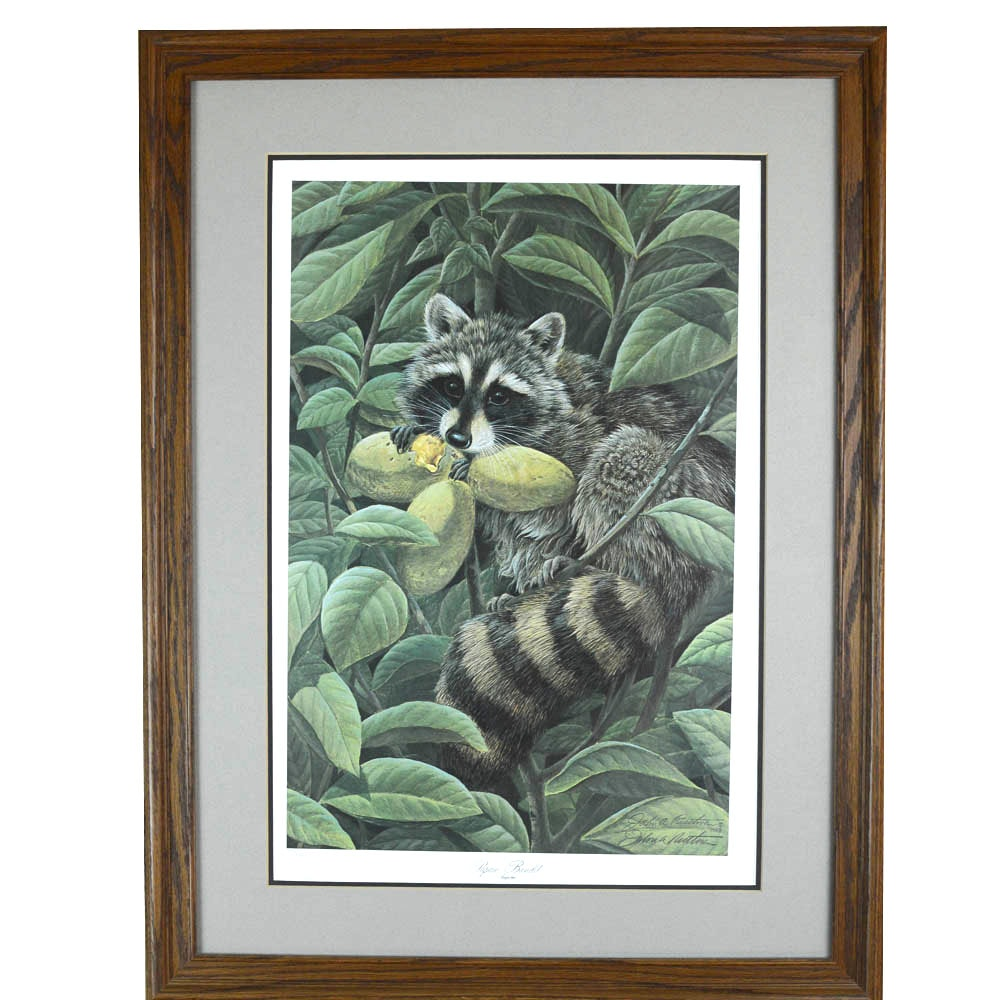 "Signed Limited Edition Offset Lithograph ""Papaw Bandit"" by John Ruthvin"