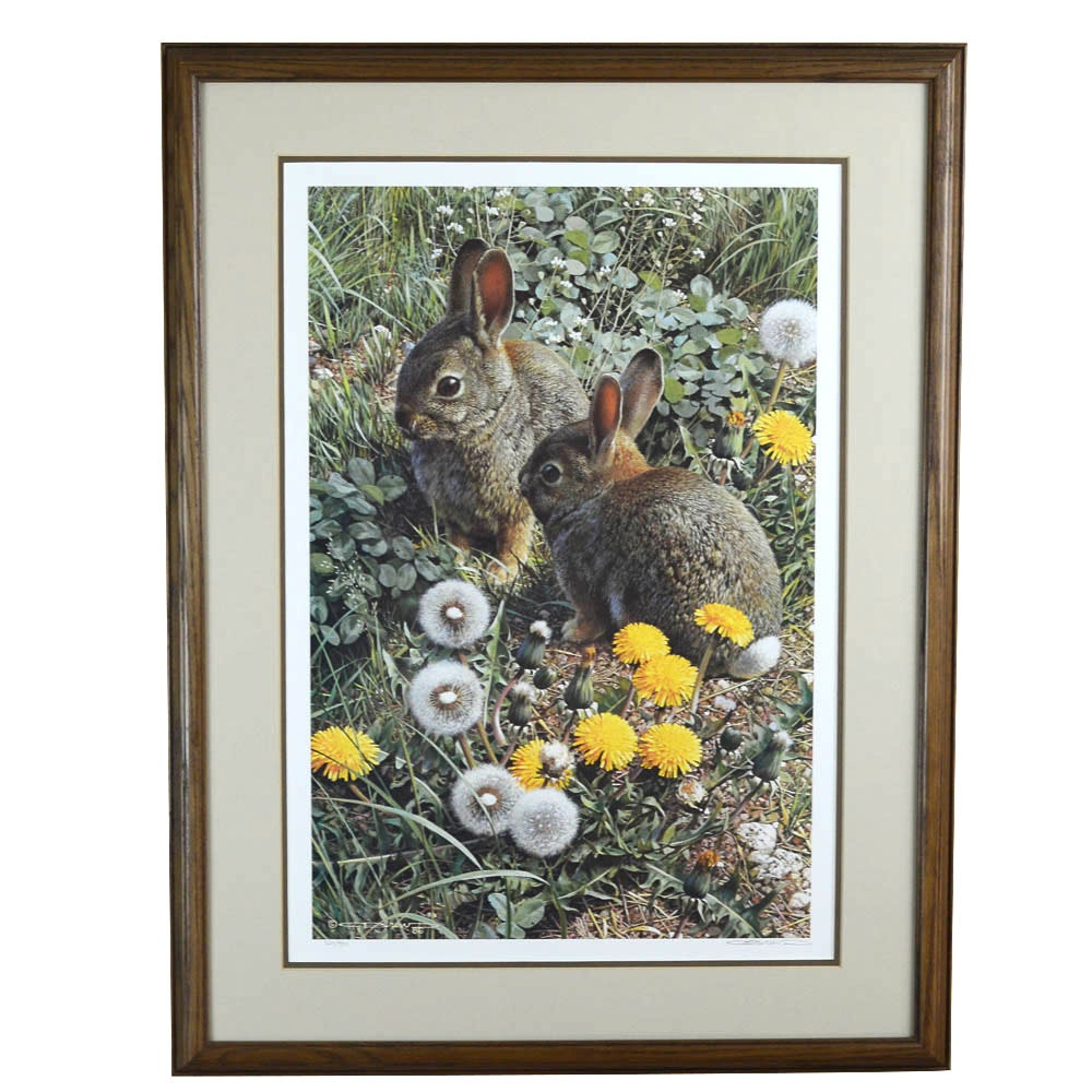 "Signed Offset Lithograph ""Colorful Playground - Cottontails"" by Carl Brenders"