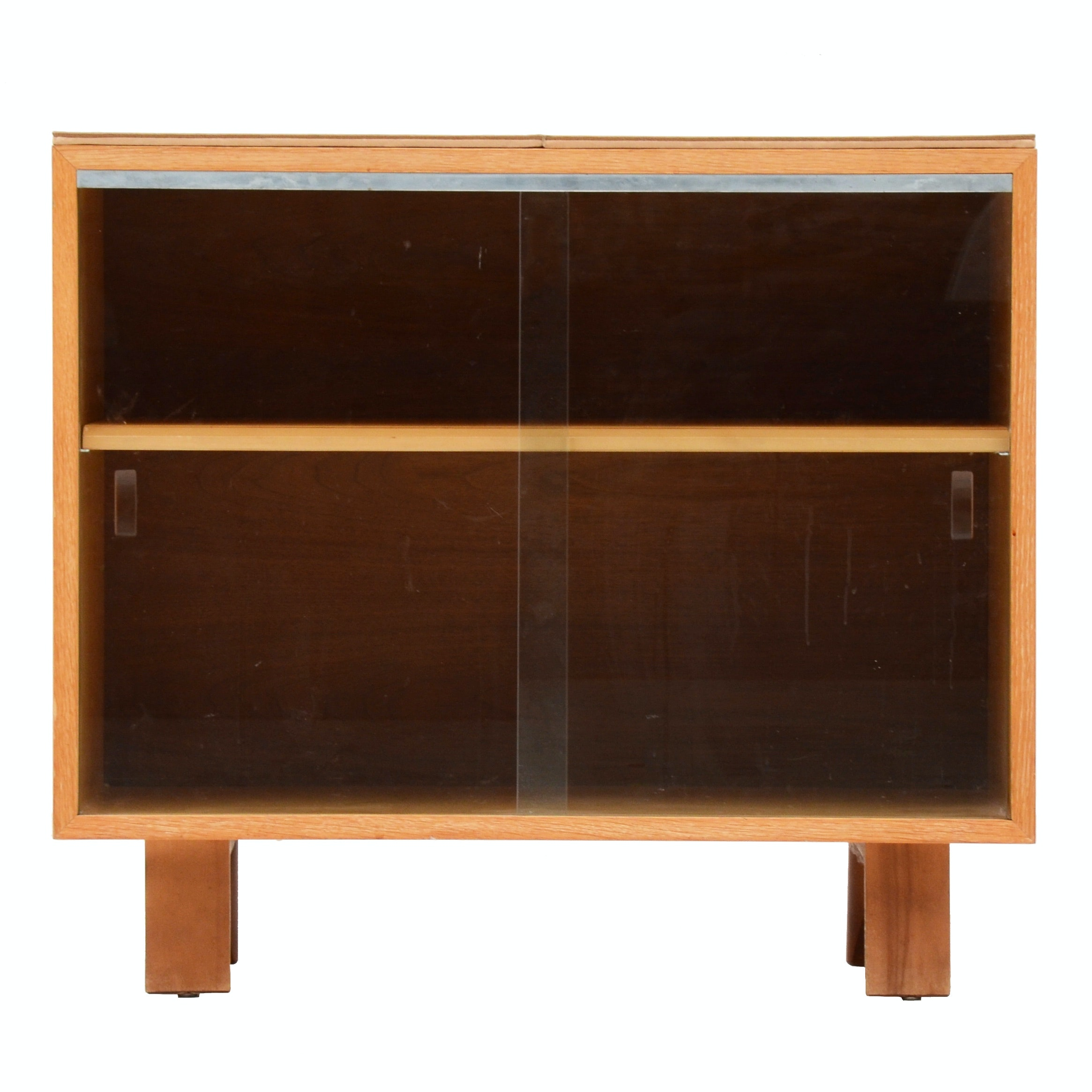 Mid Century Glass Front Media Cabinet ...