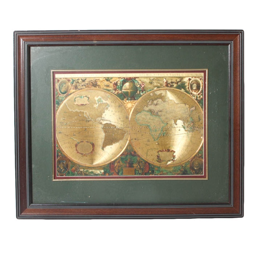 Framed gold foil old world map ebth framed gold foil old world map gumiabroncs Image collections