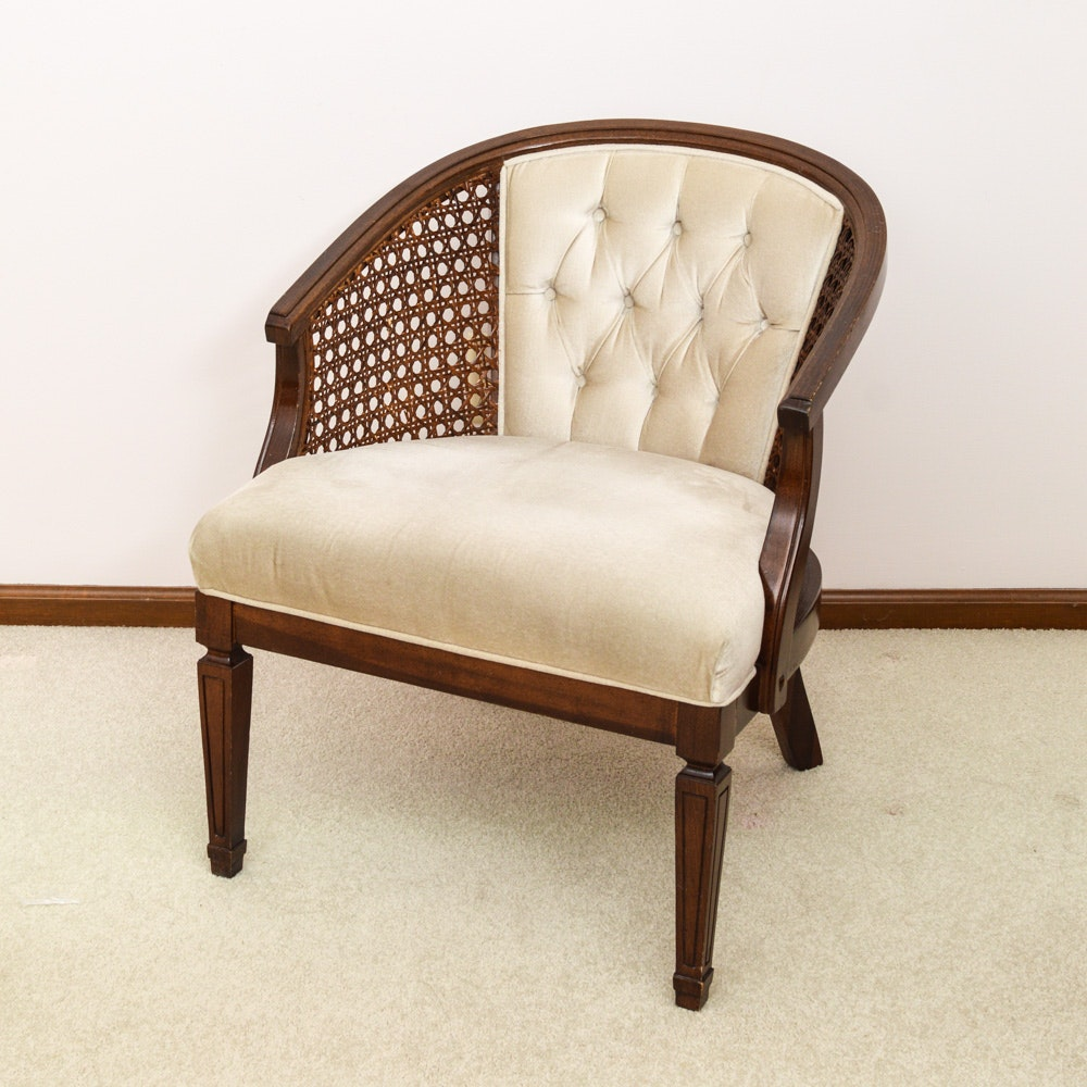 Vintage Mahogany And Cane Barrel Back Chair ...