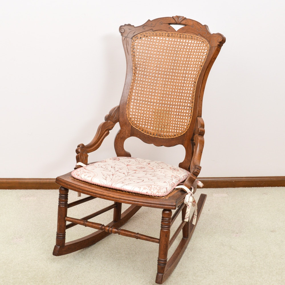 Antique Eastlake Cane Back Walnut Rocking Chair ... & Antique Eastlake Cane Back Walnut Rocking Chair : EBTH