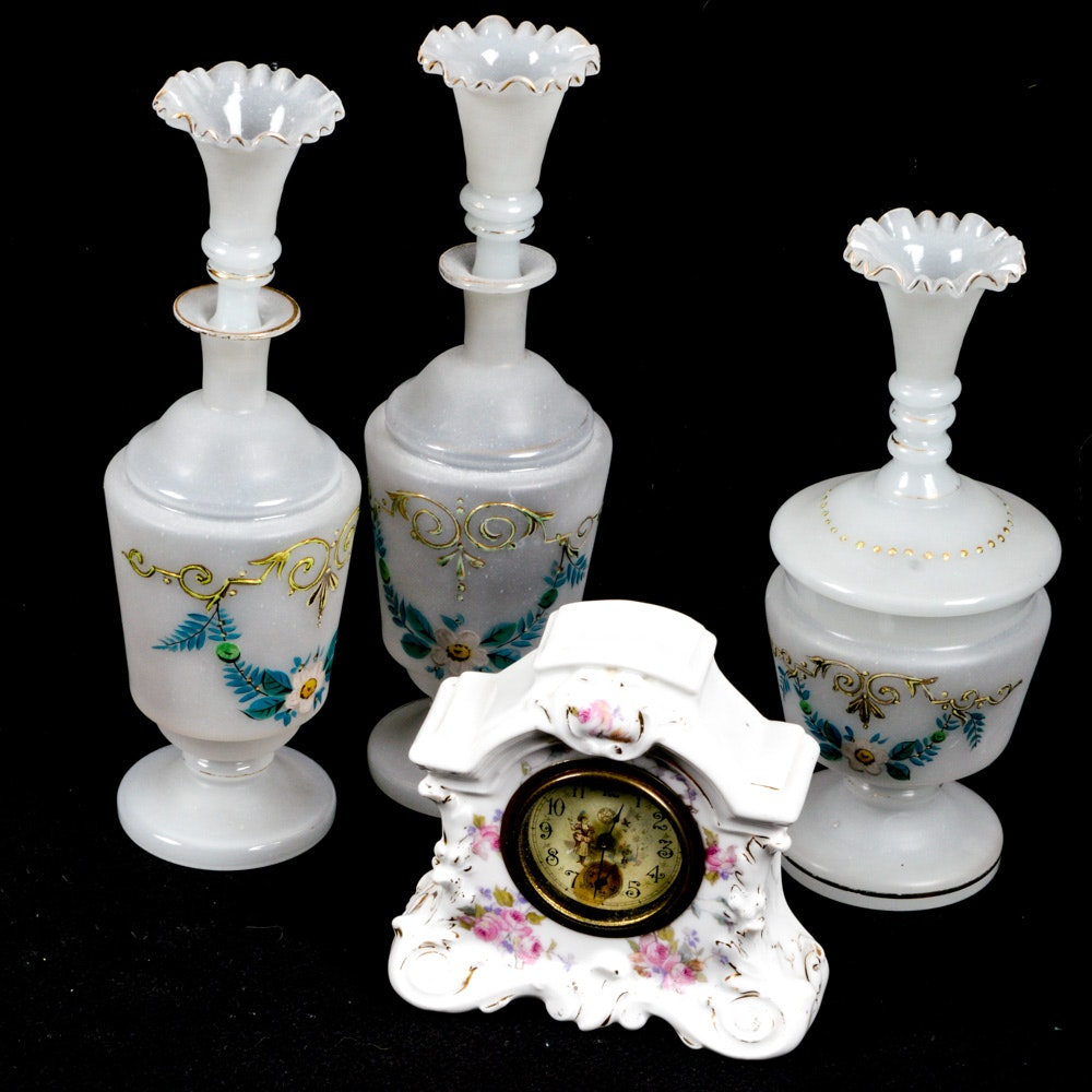 Porcelain New Haven Mantel Clock with Trio of Blown Glass Cruets