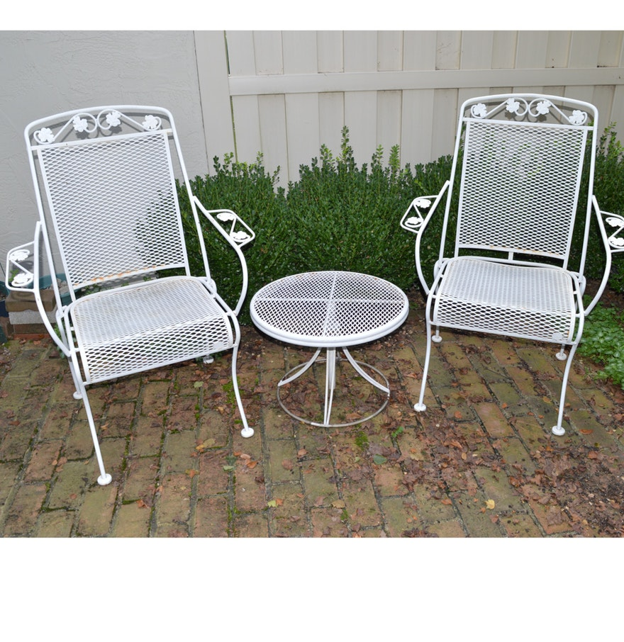 Vintage wrought iron patio chairs with table ebth - Vintage wrought iron chairs ...