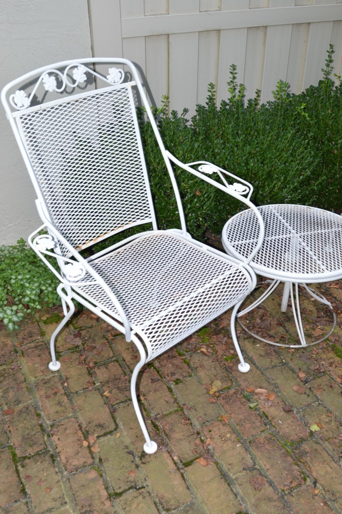 Vintage Wrought Iron Patio Chairs With Table Ebth