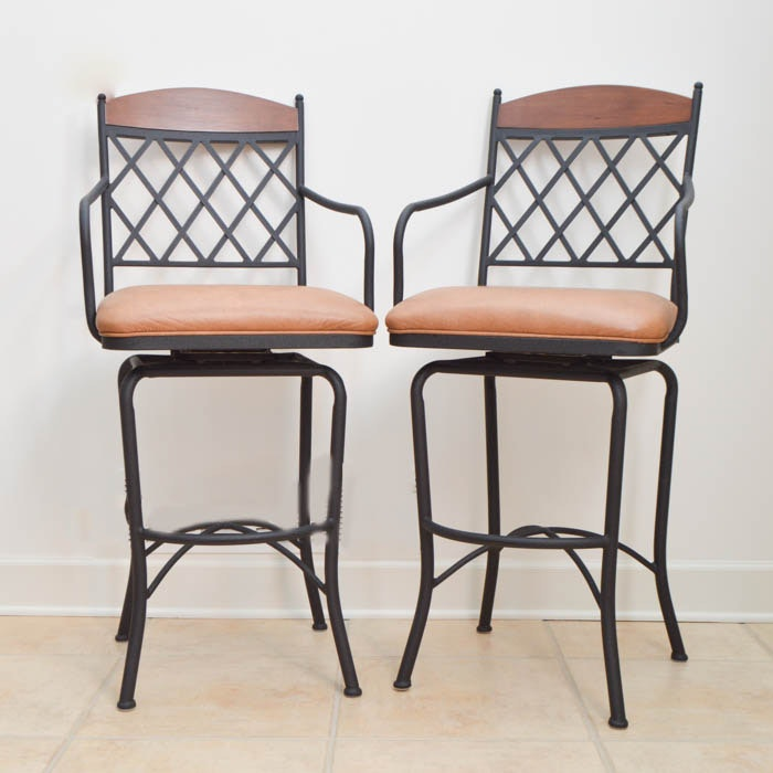 Pair of Black Metal Bar Stools with Faux Leather Seats