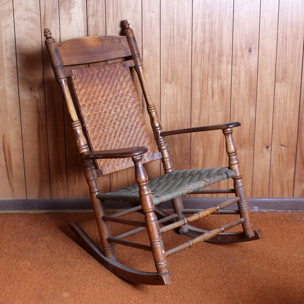 Delicieux Wooden Rocking Chair With Cane Back And Canvas Seat ...