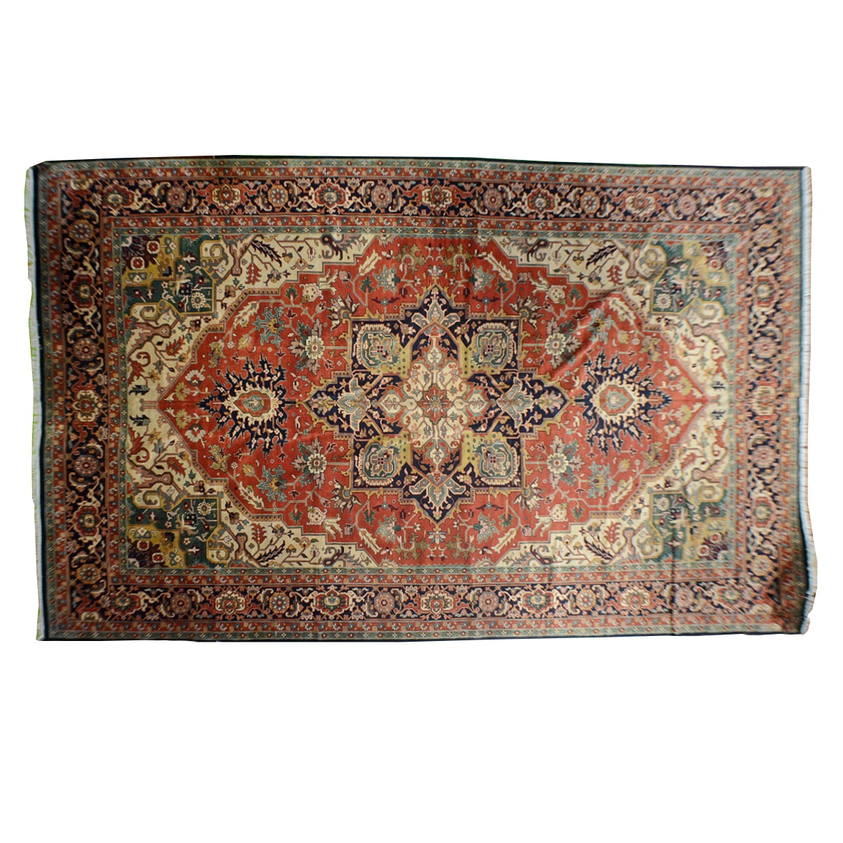 Large Hand Knotted Heriz Area Rug