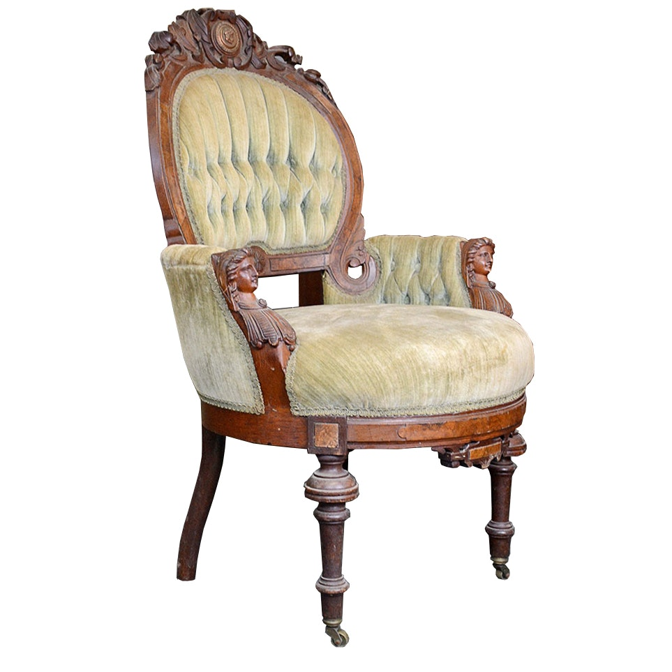 19th Century Rococo Revival Parlor Chair Attributed to John Jelliff