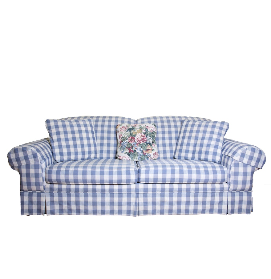 Blue Plaid Sofa