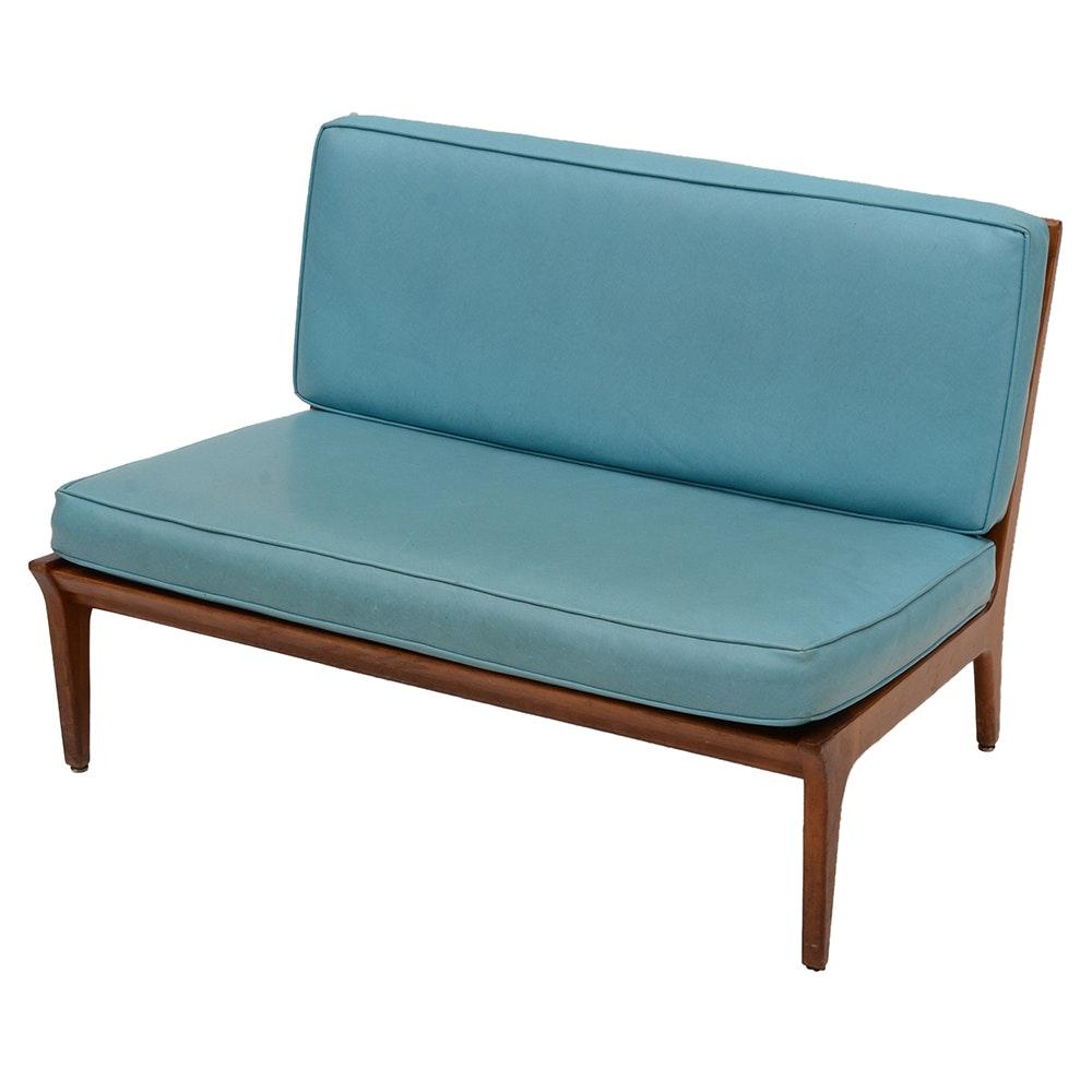 mid century modern turquoise vinyl loveseat