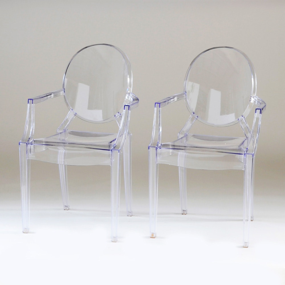 Superbe Pair Of Clear Lucite Arm Chairs After Philippe Starck ...
