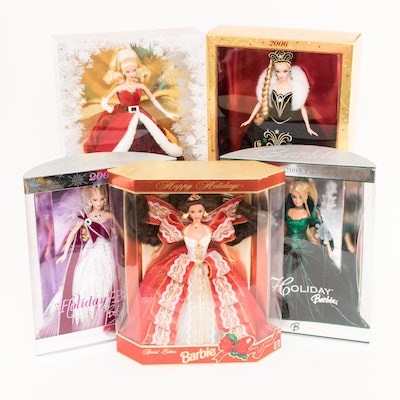 Five Collectible Holiday Barbies in Boxes