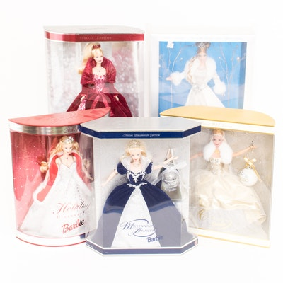 Five Collectible Special Edition Barbies in Boxes