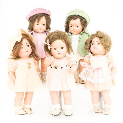 1930s Madame Alexander Composition Dionne Quintuplets Dolls