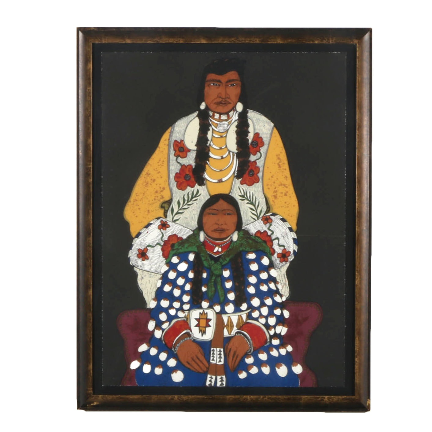 """Kevin Red Star 1979 Artist Proof Serigraph """"Husband and Wife"""""""