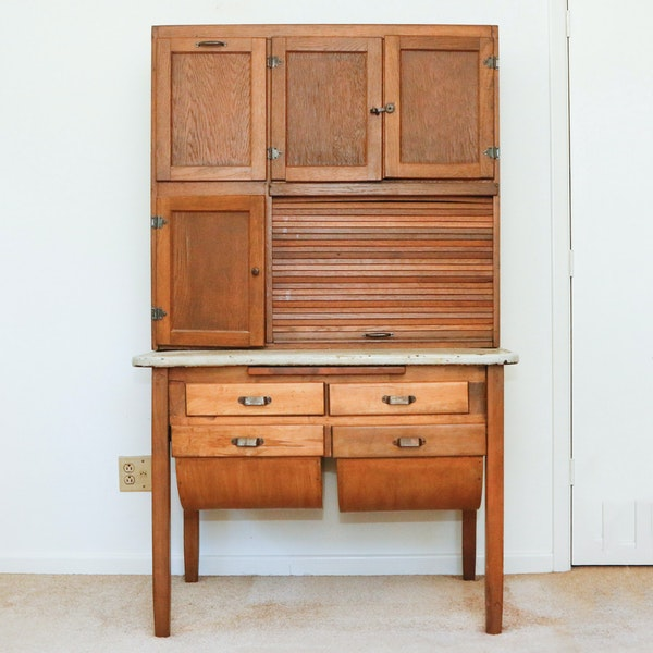 Hoosier Kitchen Cabinet: Antique Oak Hoosier Cabinet : EBTH