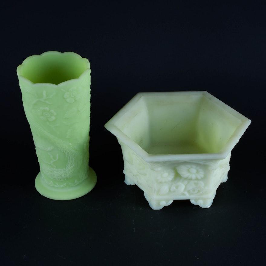 Vintage Fenton Green Glass Vases Ebth