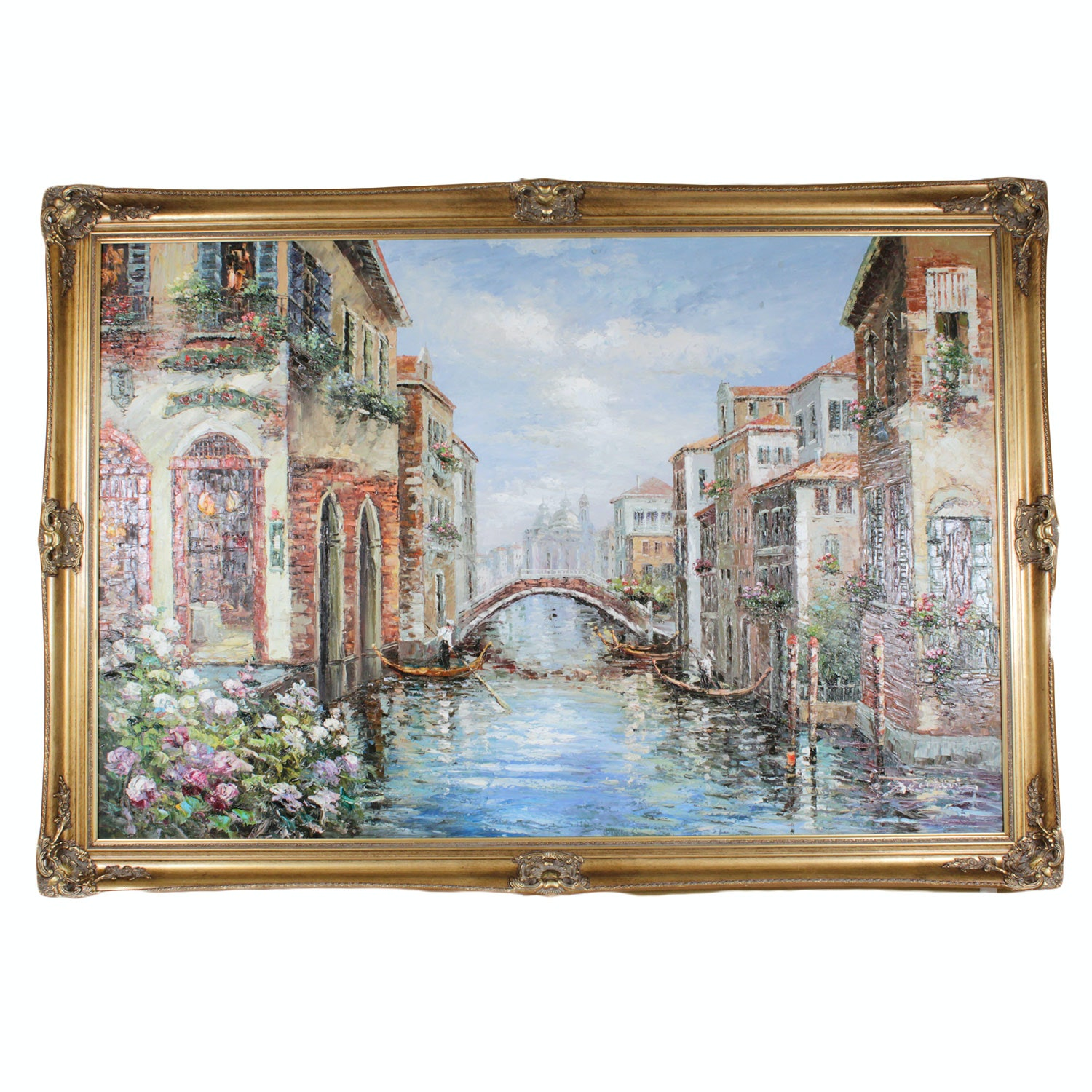 Large-Scale Signed Venetian Canal Painting