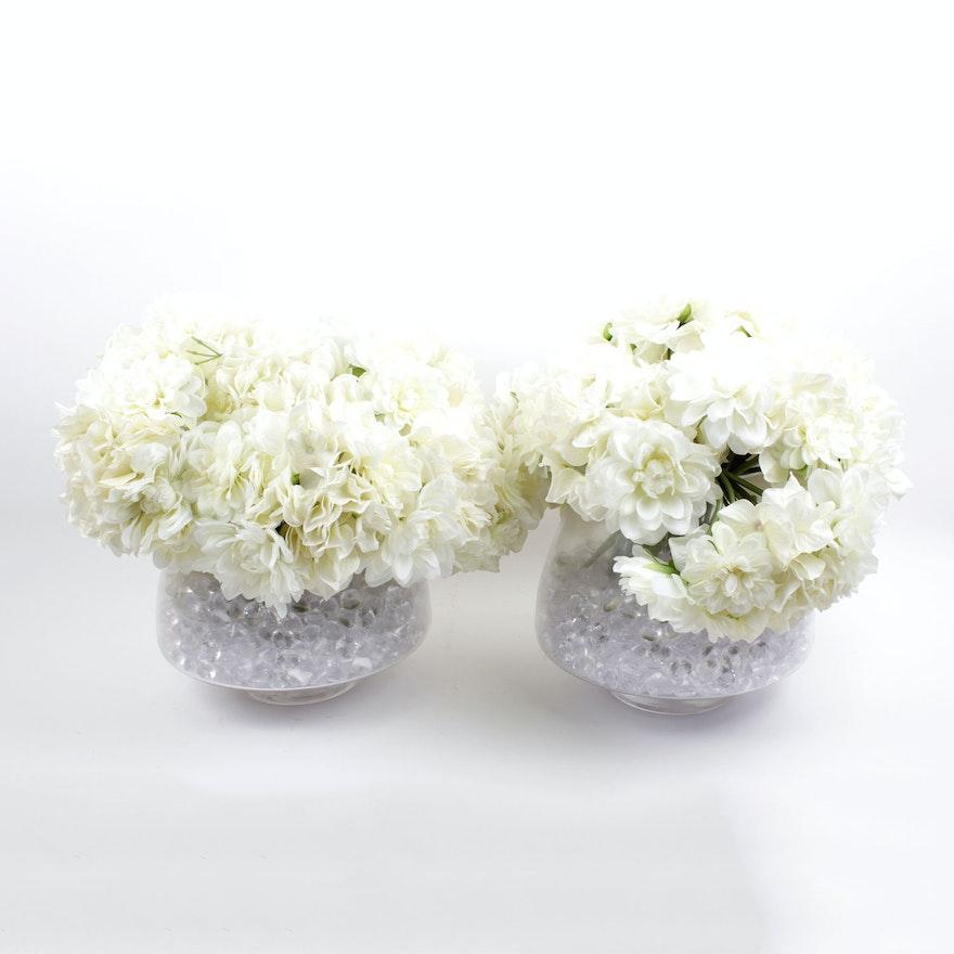 Pair Of Silk Hydrangeas In Large Glass Vases Ebth