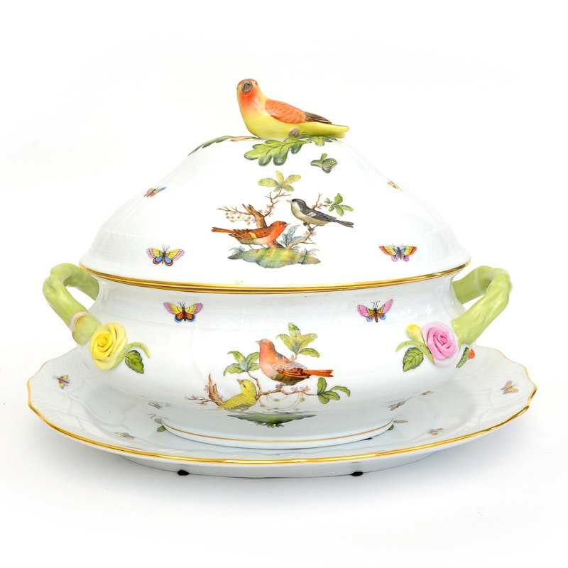 Herend 'Rothschild Bird' Covered Tureen and Underplate