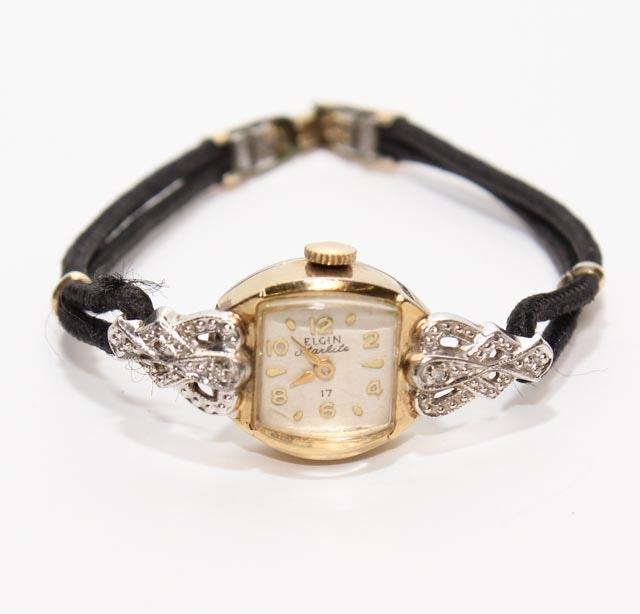 "Vintage Women's Elgin ""Starlite"" Diamond and Gold Filled Watch"
