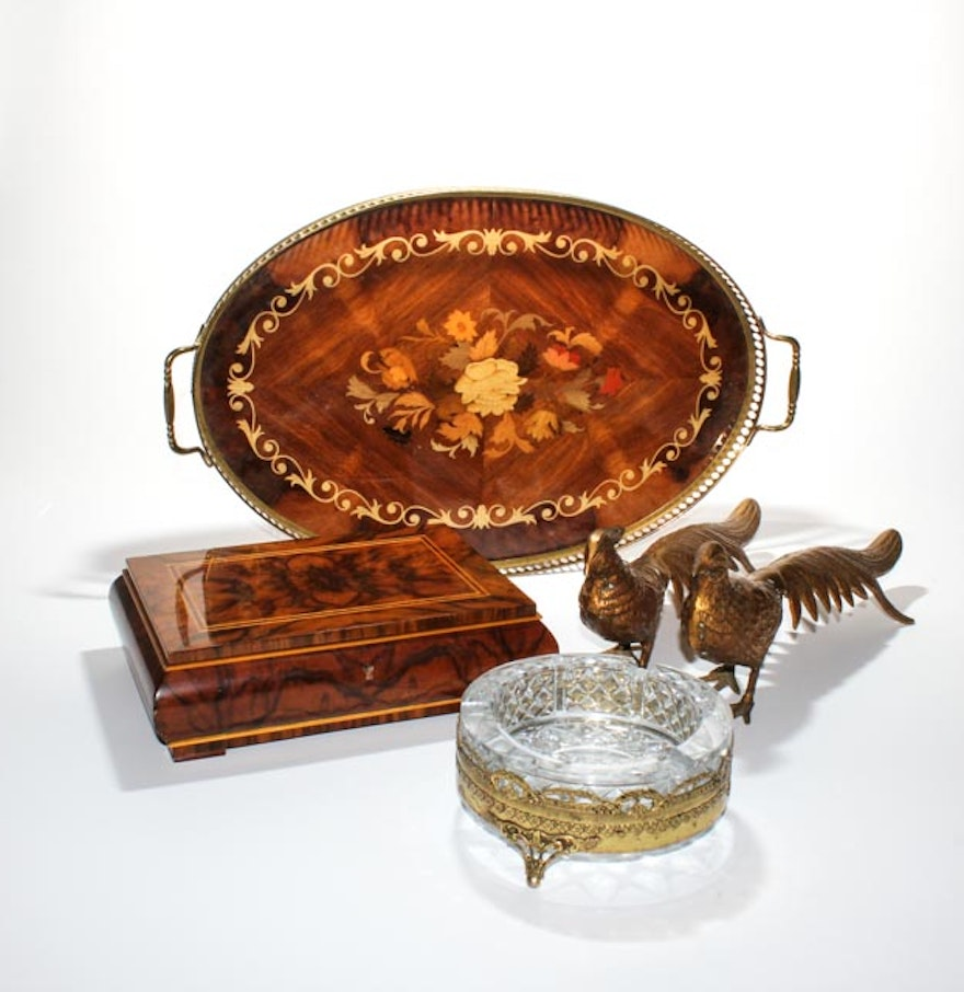 Italian inlaid tray pecan wood box with brass accent
