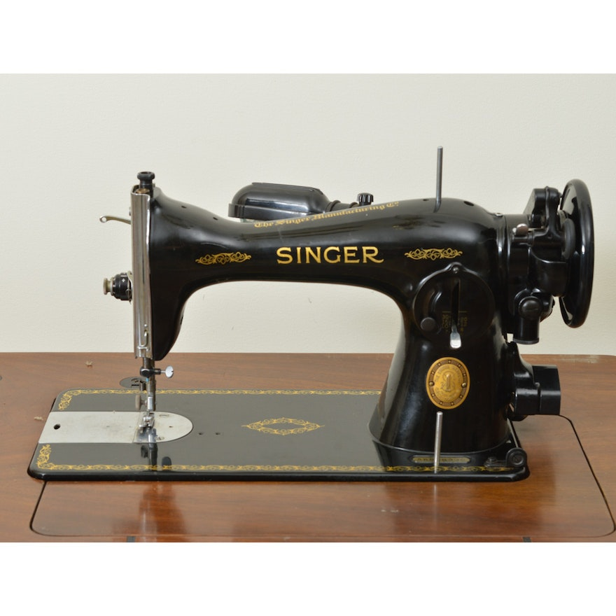 Antique Singer 4040 Sewing Machine With Mahogany Cabinet And Custom Singer 1591 Sewing Machine
