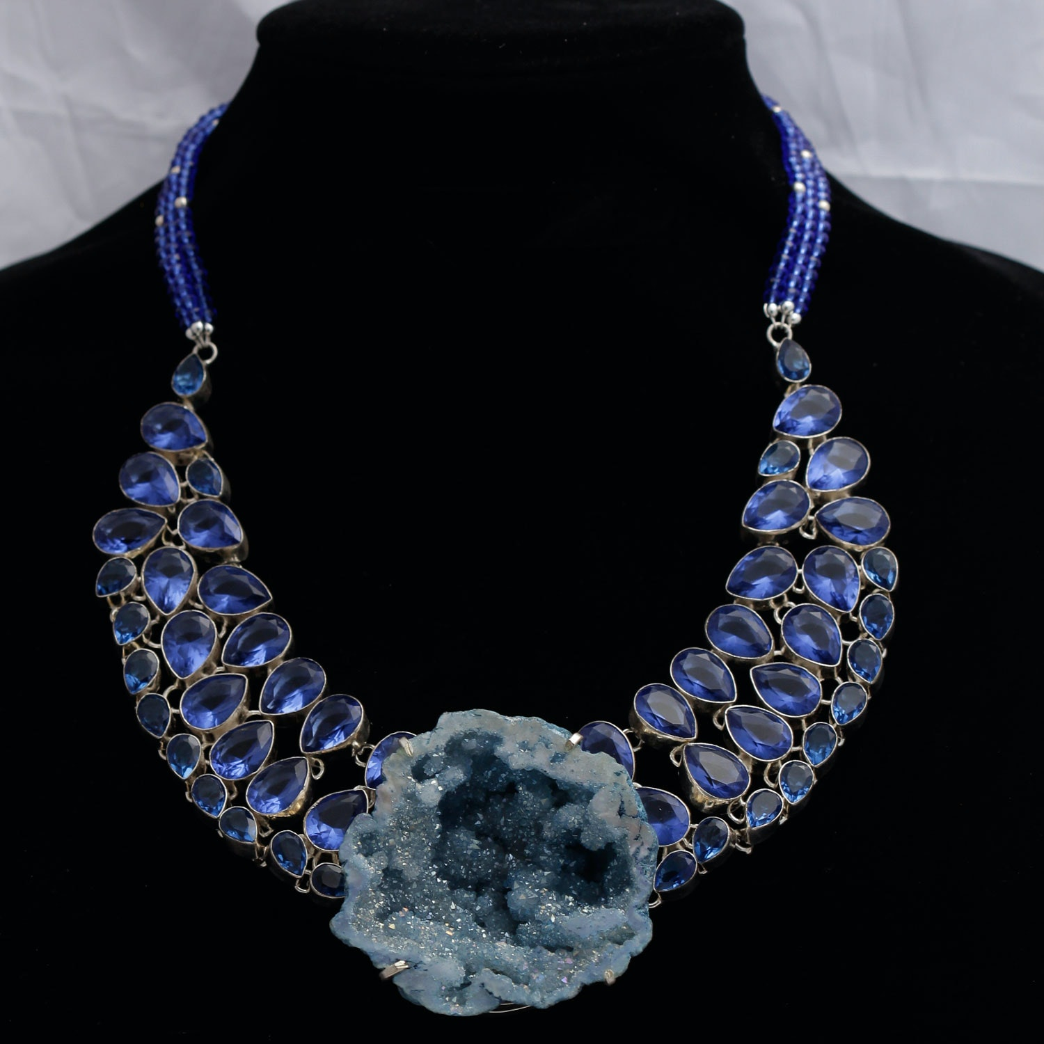 Sterling Silver Geode Statement Necklace with Blue Stones
