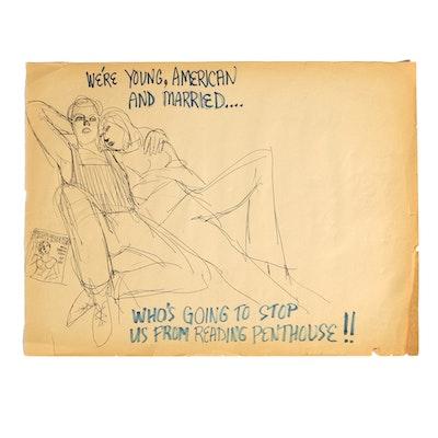 Original Bob Guccione Penthouse Advertisement Concept Art Sketch