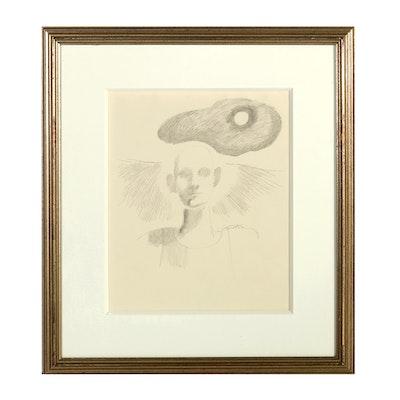 "Original Bob Guccione Framed Pencil Sketch ""Cloud"""