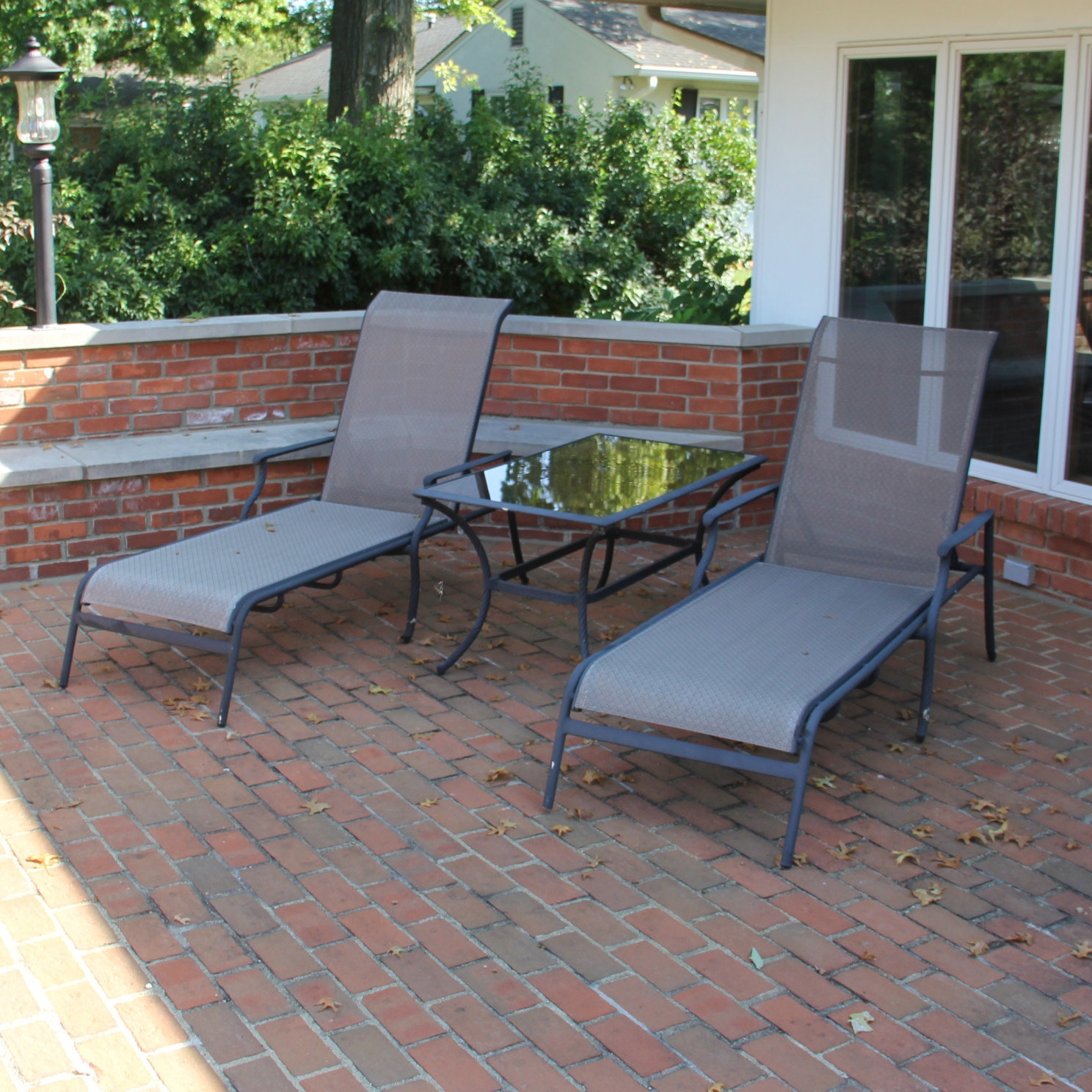 Pair of Chaise Lounge Chairs with Accent Table