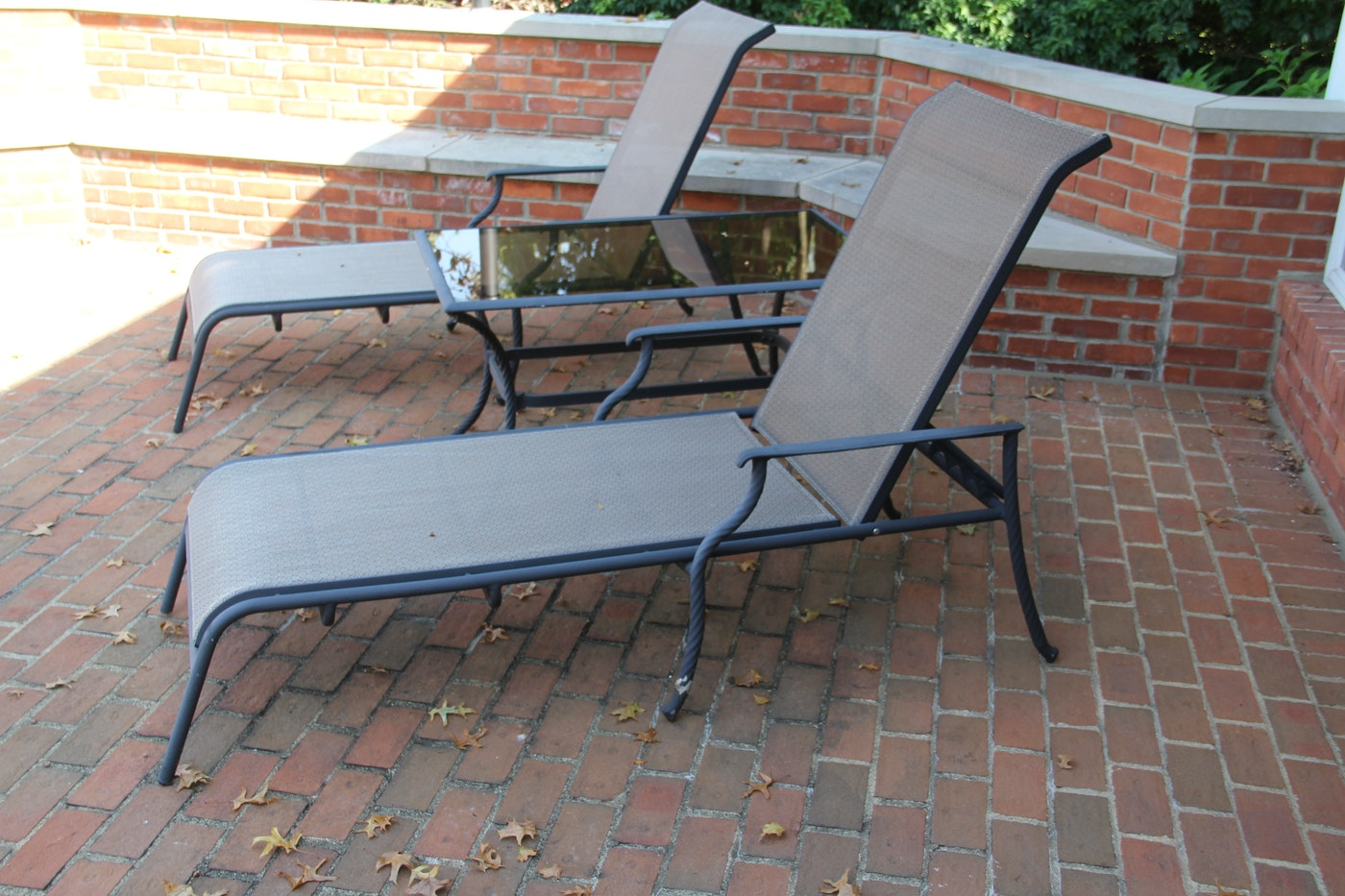 Pair Of Chaise Lounge Chairs With Accent Table Ebth