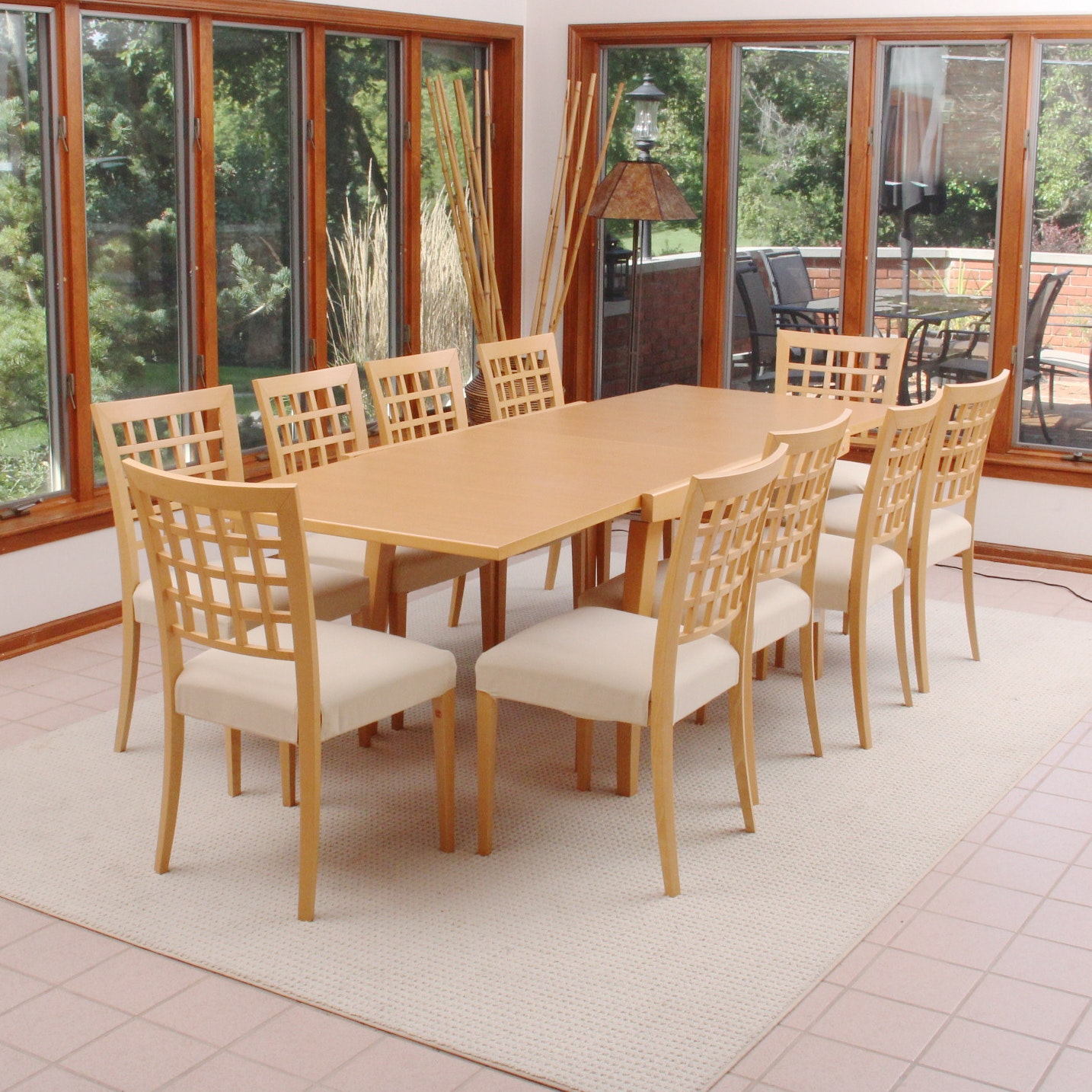 Italian Made Calligaris Expandable Table and Ten Matching Chairs